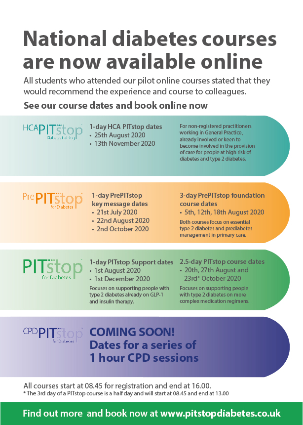 The PITstop portfolio of diabetes courses is now available online